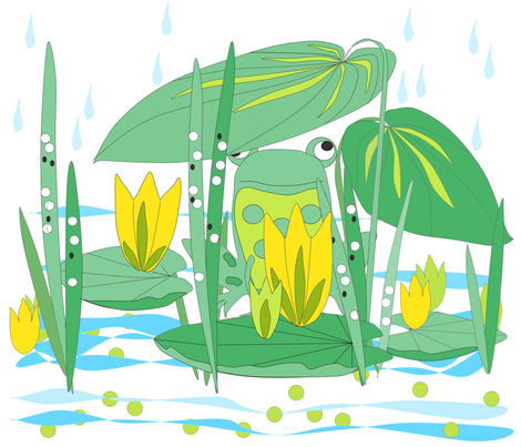 Frog_and_rain fabric by feltfantasia on Spoonflower - custom fabric
