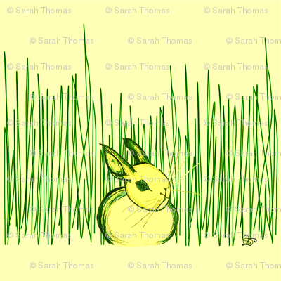 Bunny Hiding In Grass