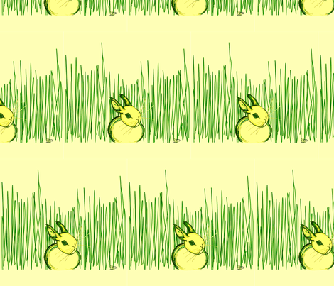 Bunny Hiding In Grass fabric by sarahthomas on Spoonflower - custom fabric