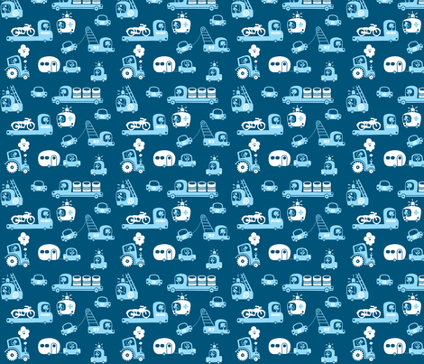On Wheels in blue fabric by bora on Spoonflower - custom fabric