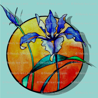 Purple Iris Blue Background