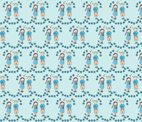 Young Love Blues fabric by mandyd on Spoonflower - custom fabric
