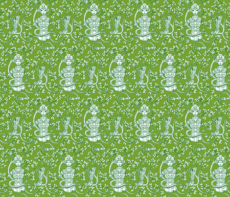 Forgotten Robot Green fabric by jillianmorris on Spoonflower - custom fabric