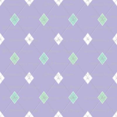 Mini Argyle: Lavender, Seaglass, White