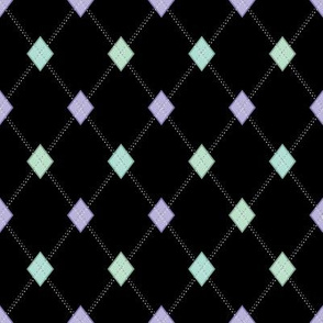 Mini Argyle: Black and Pastels