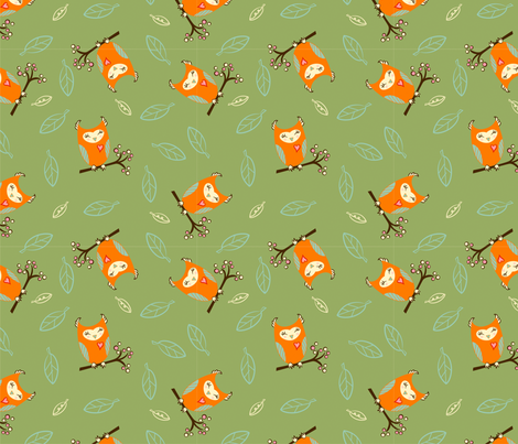 OrngOwls_Grn fabric by veryhappychair on Spoonflower - custom fabric
