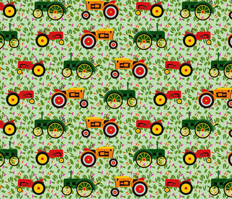 tractors_veggies fabric by lfntextiles on Spoonflower - custom fabric