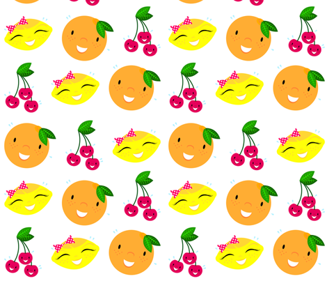 Skulluxe fruit party - plain white fabric by skulluxe on Spoonflower - custom fabric