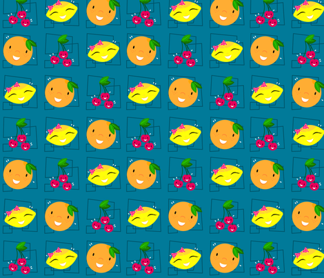 Skulluxe fruit party - vintage blue fabric by skulluxe on Spoonflower - custom fabric