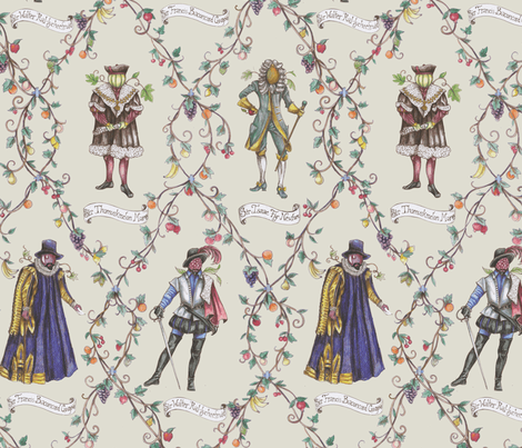 Knighted Men of Science and Letters, With Fruit for Faces fabric by ceanirminger on Spoonflower - custom fabric
