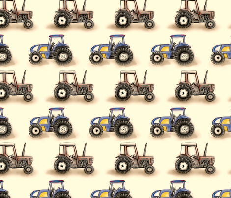 Little tractors fabric by janicesheen on Spoonflower - custom fabric