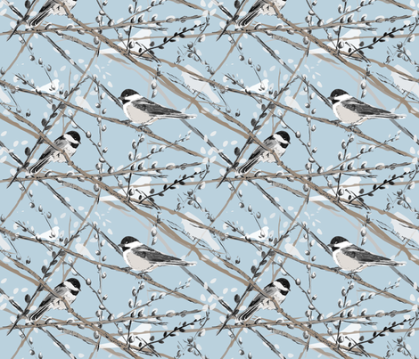 Chickadees and Pussywillows (blue) fabric by twobloom on Spoonflower - custom fabric
