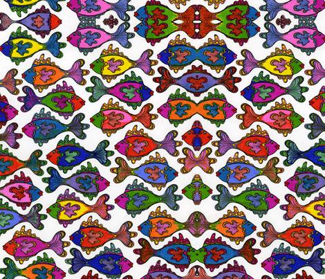 manyfrillyfishcoloronwhite fabric by joonmoon on Spoonflower - custom fabric