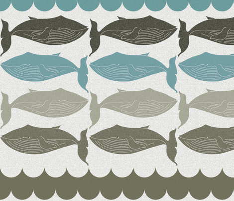 whales_and_waves_aqua fabric by holli_zollinger on Spoonflower - custom fabric