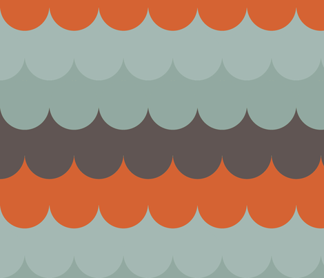 waves_aqua_orange fabric by holli_zollinger on Spoonflower - custom fabric