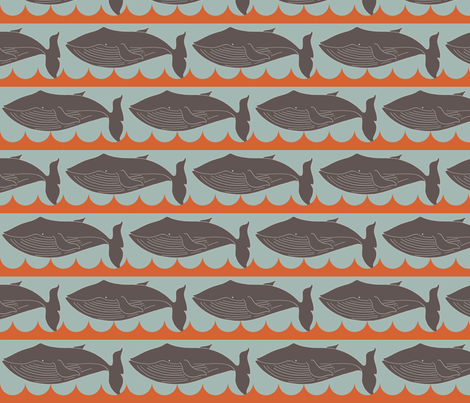 whales_brown and orange fabric by holli_zollinger on Spoonflower - custom fabric