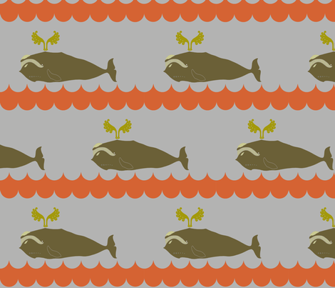 whale_and_spout_grey_orange fabric by holli_zollinger on Spoonflower - custom fabric