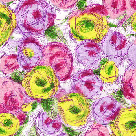 SketchRoses fabric by jpfabrics on Spoonflower - custom fabric