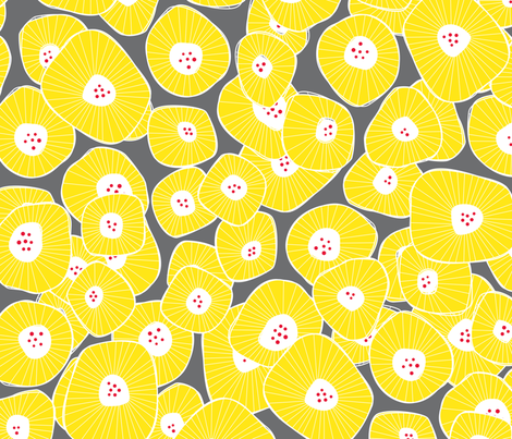 Daisies Sunny Yellow fabric by zesti on Spoonflower - custom fabric