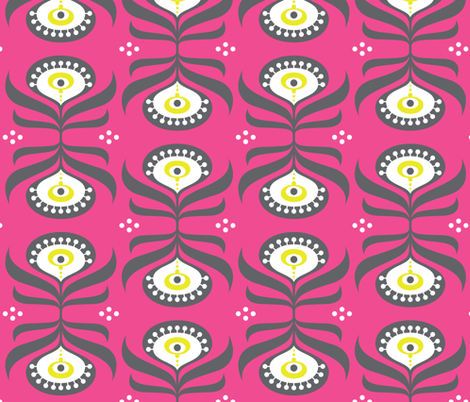 Peacock Bright Pink fabric by zesti on Spoonflower - custom fabric