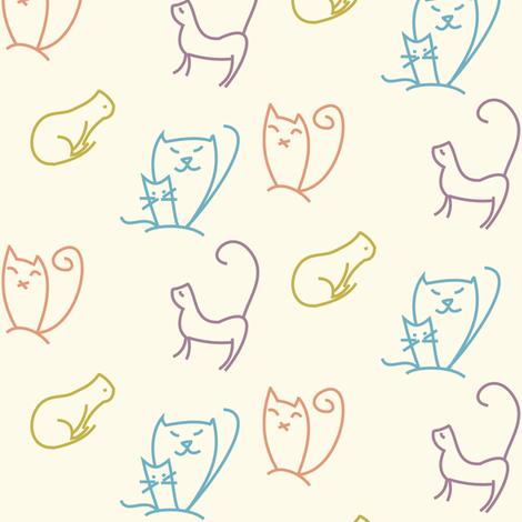 Doodle cats fabric by ravynka on Spoonflower - custom fabric
