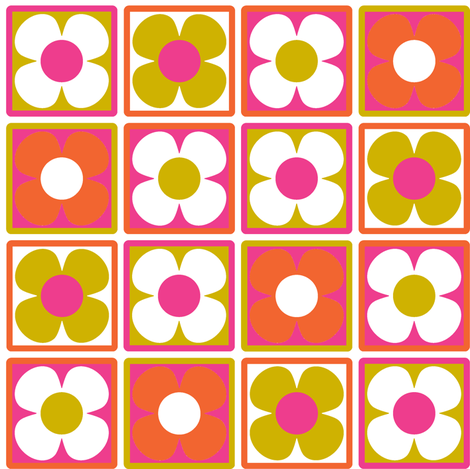 Flower_Tile-pink fabric by aliceapple on Spoonflower - custom fabric