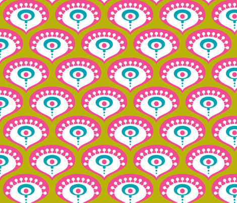 Peacock Drops Bright Pink fabric by zesti on Spoonflower - custom fabric