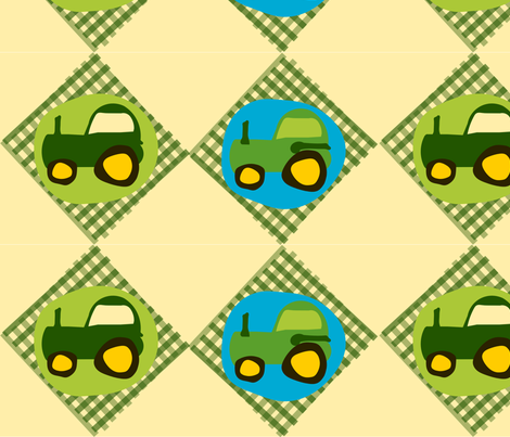 Tractor Gingham fabric by heathermann on Spoonflower - custom fabric