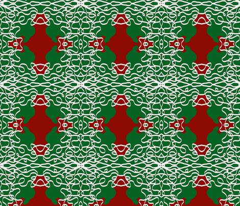 Jan's Holiday Bandanna2 green red white fabric by jan4insight on Spoonflower - custom fabric