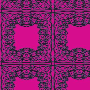 Jan's Bandanna1 tricolor pink black teal
