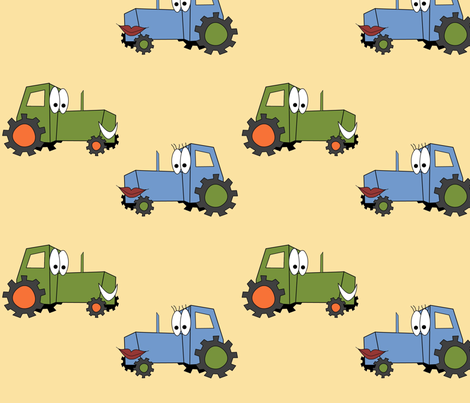 Tractors A'Smiling fabric by lowa84 on Spoonflower - custom fabric