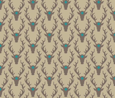 deer_head_tan_turquoise fabric by holli_zollinger on Spoonflower - custom fabric