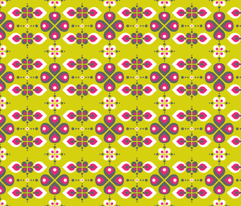 Vintage Abstract Flowers Lime green  fabric by zesti on Spoonflower - custom fabric