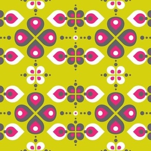Vintage Abstract Flowers Lime green