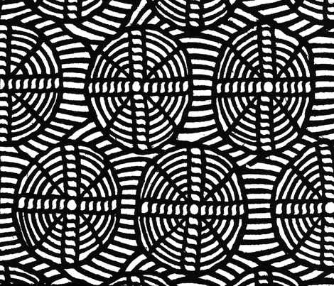 circles and crosses black & white fabric by paulamarie on Spoonflower - custom fabric