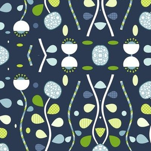 EV Whimsy Flowers Blue Green