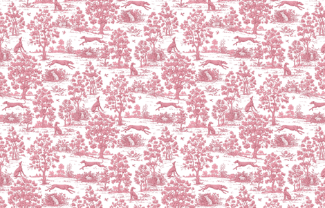 Dark Pink Greyhound Toile 2010 by Jane Walker fabric by artbyjanewalker on Spoonflower - custom fabric