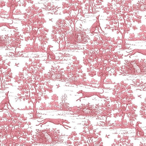 Dark Pink Greyhound Toile 2010 by Jane Walker