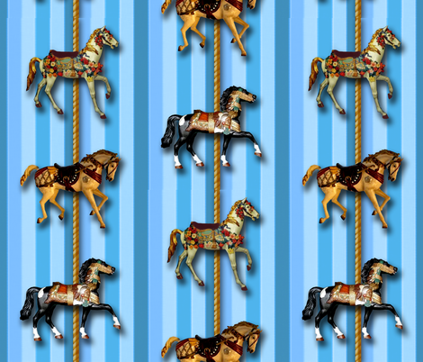 blue_carousel-ed fabric by hollishammonds on Spoonflower - custom fabric