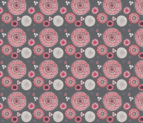 Chrystanthemums on Gray fabric by penina on Spoonflower - custom fabric
