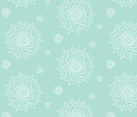 Seaglass Chrystanthemums III fabric by penina on Spoonflower - custom fabric