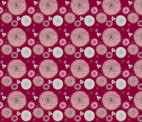 Chrystanthemums on Maroon fabric by penina on Spoonflower - custom fabric
