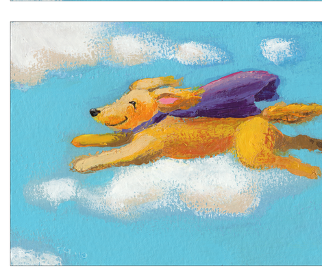 Wonder Dog - fun flying golden dog fabric by fununiqueart on Spoonflower - custom fabric