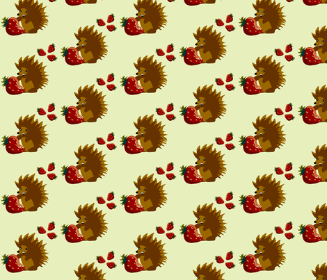 Strawberry Hedgehog fabric by riamelin on Spoonflower - custom fabric