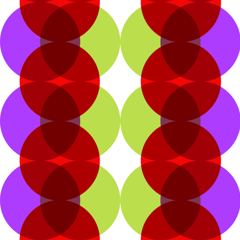 Mod circles in red, green and purple