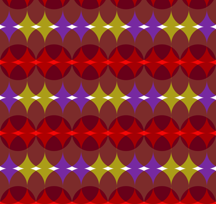 Mod circles in red, olive and purple