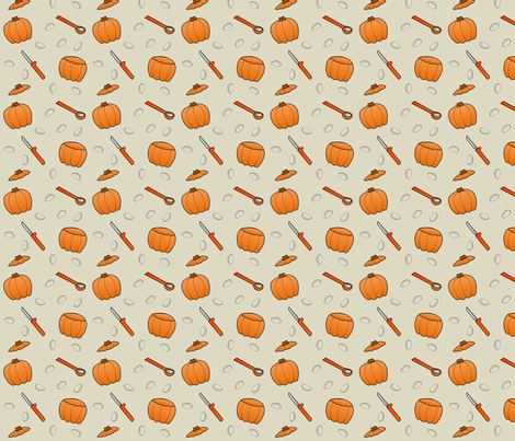 Pumpkin Carving - Beige fabric by lowa84 on Spoonflower - custom fabric