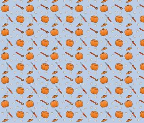 Pumpkin Carving - Blue fabric by lowa84 on Spoonflower - custom fabric