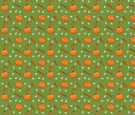 Pumpkin Carving - Green fabric by lowa84 on Spoonflower - custom fabric