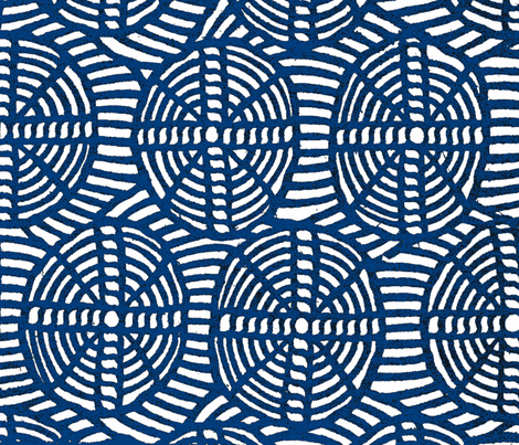 Blue Circles and Crosses fabric by paulamarie on Spoonflower - custom fabric